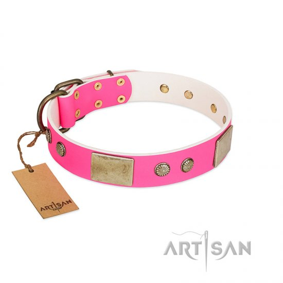 """Flower Parade"" FDT Artisan Pink Leather Doberman Collar with Plates and Studs"
