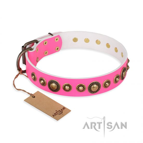 """Pink Gloss"" FDT Artisan Leather Doberman Collar with Old-Bronze Plated Circles and Studs"