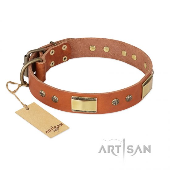 """Enchanting Spectacle"" FDT Artisan Tan Leather Doberman Collar with Old Bronze Look Plates and Round Studs"