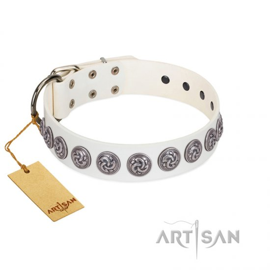 """Bohemian Spirit"" Handmade FDT Artisan White Leather Doberman Collar with Vintage Decorations"