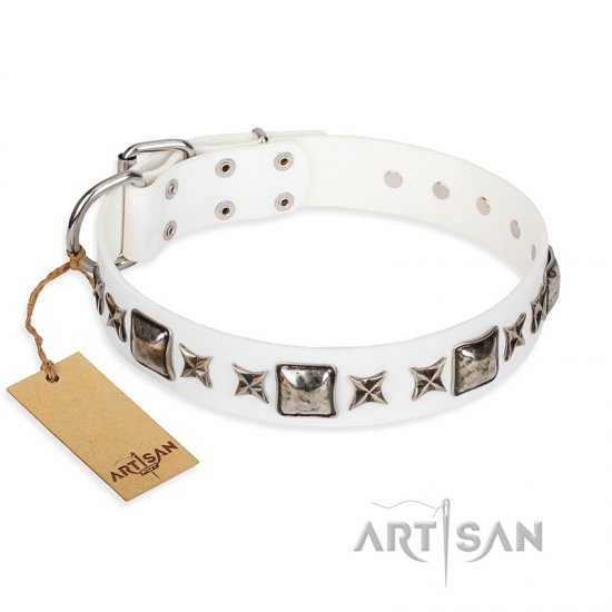 """Intergalactic Travelling"" FDT Artisan Handcrafted White Leather Doberman Collar"