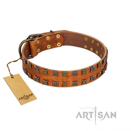 """Terra-cotta"" FDT Artisan Tan Leather Doberman Collar with Two Rows of Studs"