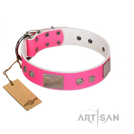 """Pink Blush"" Premium Quality FDT Artisan Pink Designer Doberman Collar with Plates and Studs"