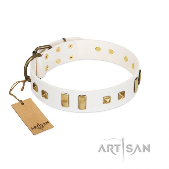 """Wintertide Mood"" FDT Artisan White Leather Doberman Collar with Old Bronze-like Plates and Studs"
