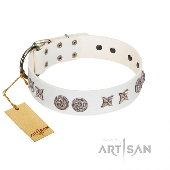 """Galaxy Hunter"" FDT Artisan White Leather Doberman Collar with Engraved Brooches and Stars"