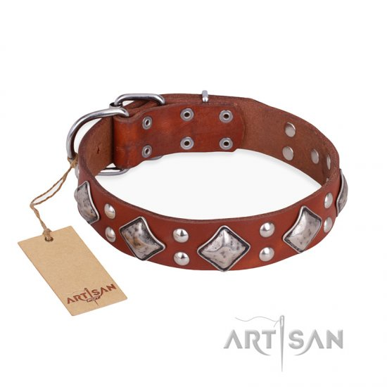"""Magic Squares"" FDT Artisan Tan Leather Doberman Collar with Silver-like Decor"