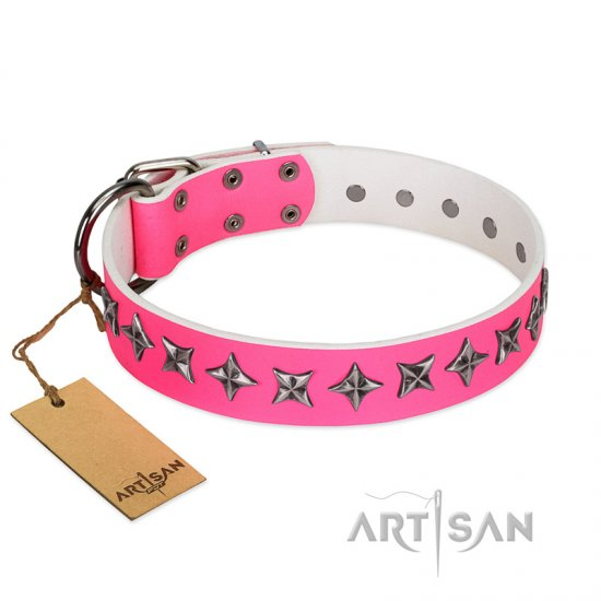 """Star Dreams"" FDT Artisan Pink Leather Doberman Collar with Silver-like Stars"