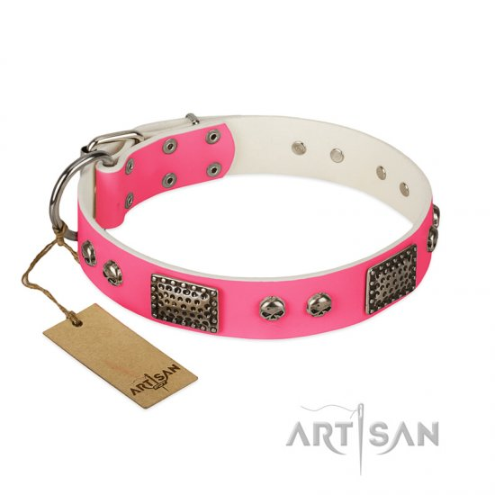 """Fashion Skulls"" FDT Artisan Pink Leather Doberman Collar with Old Silver Look Plates and Skulls"