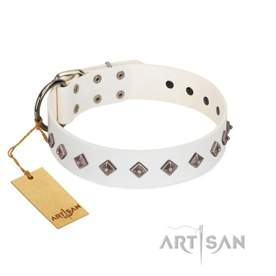 """Snowy Day"" Stylish FDT Artisan White Leather Doberman Collar with Small Dotted Pyramids"