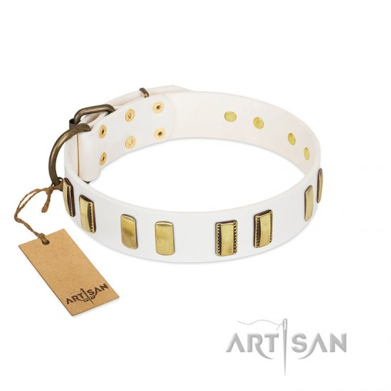 """Glorious Light"" FDT Artisan White Leather Doberman Collar with Old Bronze-like Plates"