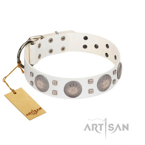 """Mighty Shields"" FDT Artisan White Leather Doberman Collar with Chrome Plated Shields and Square Studs"
