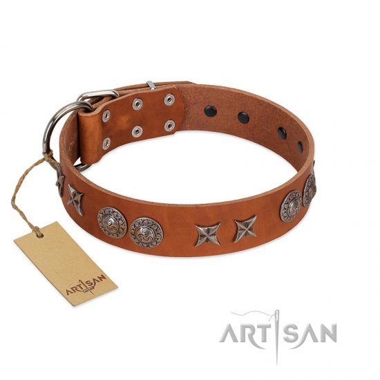 """Splendid Armor"" Premium Quality FDT Artisan Tan Designer Doberman Collar with Shields and Stars"