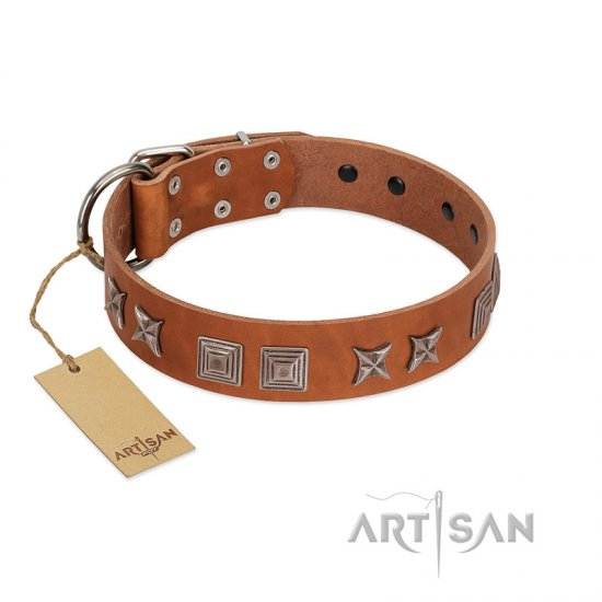 """Antique Figures"" FDT Artisan Tan Leather Doberman Collar with Silver-like Engraved Plates"