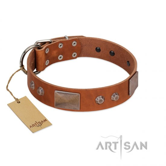 """Great Obelisk"" Handcrafted FDT Artisan Tan Leather Doberman Collar with Large Plates and Pyramids"