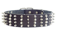2 inch Leather Dog Collar with STUDS and SPIKES for Doberman