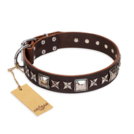 'Perfect Impression' FDT Artisan Doberman Brown Leather Dog Collar with Silvery Square Studs - 1 1/2 inch (40 mm) Wide