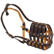 Multifunctional Leather Dog Muzzle-Lightweight Breathable Doberman Muzzle