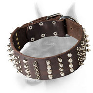 Extra Wide Doberman Leather Dog Collar with Spikes and Studs
