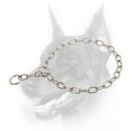 Doberman Dog Chrome-Plated Fur Saver Collar for Obedience Training