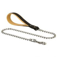 Doberman Dog Metal Chain Leash with Padded Leather Handle