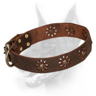 'Spring mood' Doberman Dog Leather Collar with Flowers
