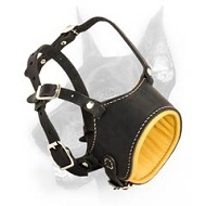 Doberman Dog Durable Leather Muzzle with Anti-Barking Effect