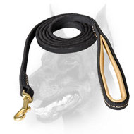 Doberman Dog Walking Leather Leash with Comfy Handle
