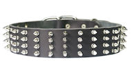 2 inch wide Leather Spiked Dog Collar for Doberman