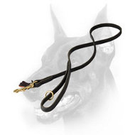 Multifunctional Leather Doberman Dog Leash with a Floating Ring