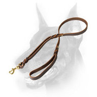 Doberman Dog Braided Leash with Additional Handle