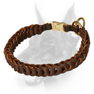 Stylish Leather Dog Choke Collar Braided All Over