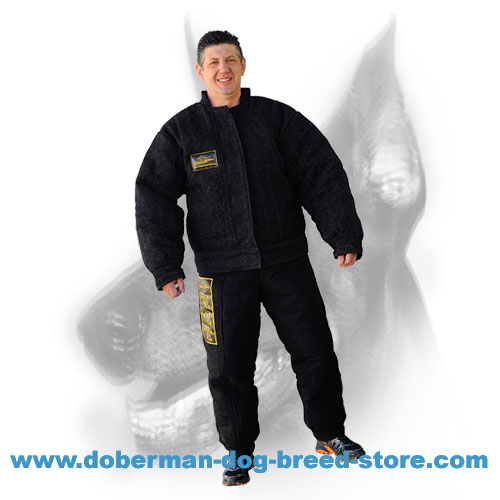 Doberman Dog bite suit with outside velcro closure