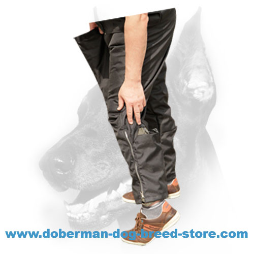 Doberman dog trainer pants with groin protection padding