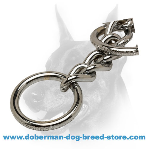 D-ring on Choke Doberman Collar Chrome Plated Steel