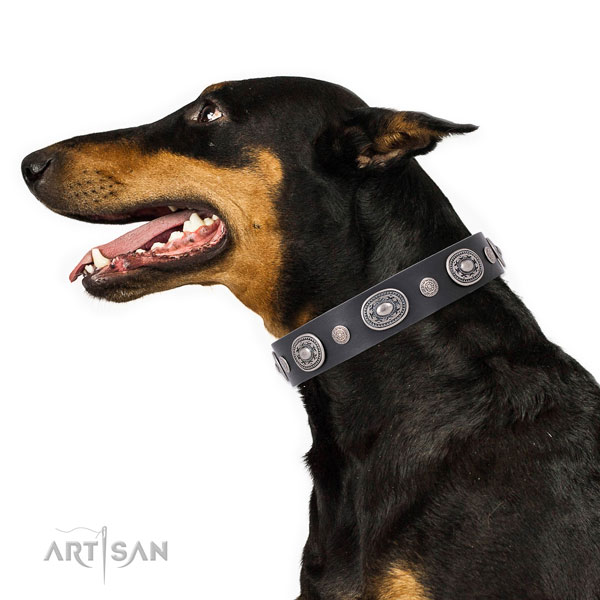 Reliable buckle and D-ring on natural leather dog collar for walking