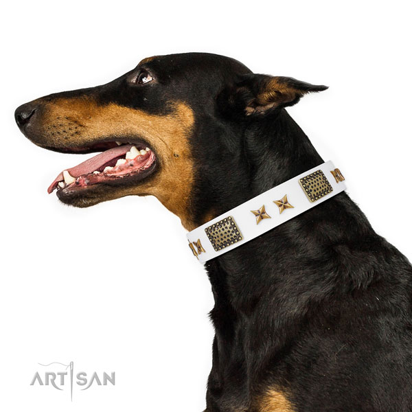 Exquisite studs on handy use leather dog collar