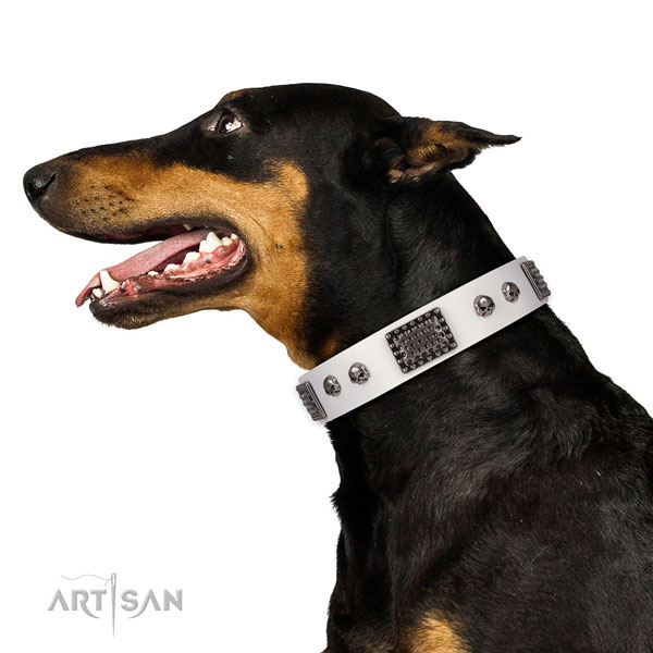 Fine quality full grain natural leather collar for your handsome four-legged friend