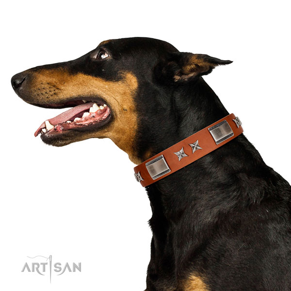 Stylish walking flexible genuine leather dog collar with decorations