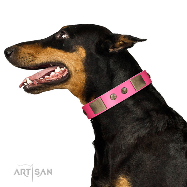 Durable D-ring on full grain leather dog collar for everyday use