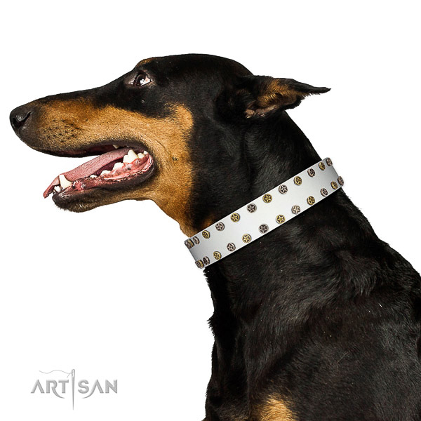 Trendy natural leather dog collar with rust resistant decorations
