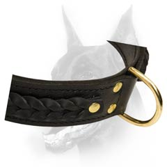 Durable leather dog collar