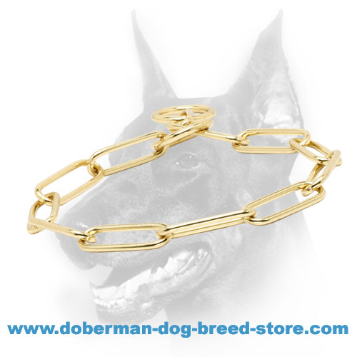 Doberman dog collar with 2 O-rings for leash attachment
