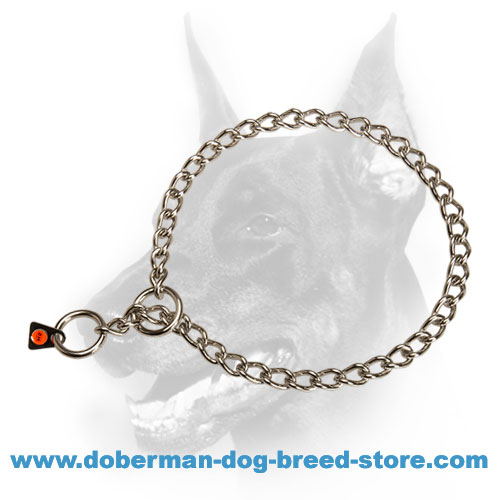 Doberman dog choke collar with two rings