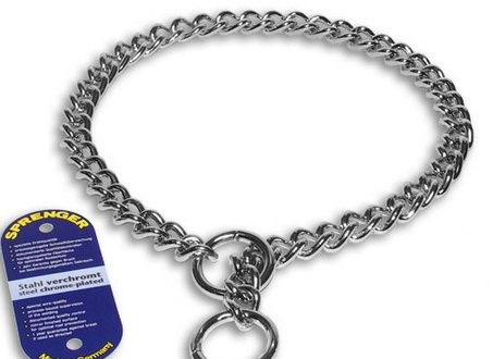 Doberman dog chromium plated steel dog collar