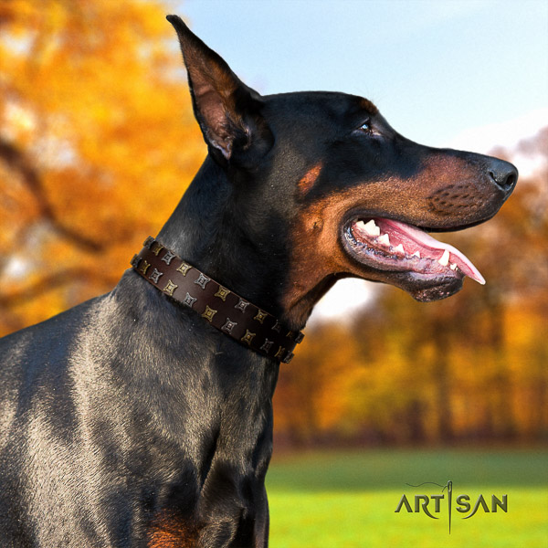 Doberman easy wearing full grain leather dog collar with decorations