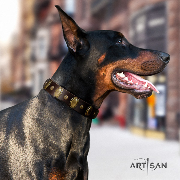 Doberman handy use full grain natural leather dog collar with adornments