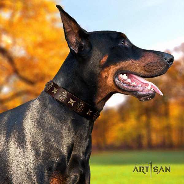 Doberman daily walking natural genuine leather dog collar with embellishments
