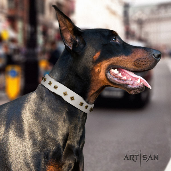 Doberman handmade full grain leather collar with studs for your four-legged friend