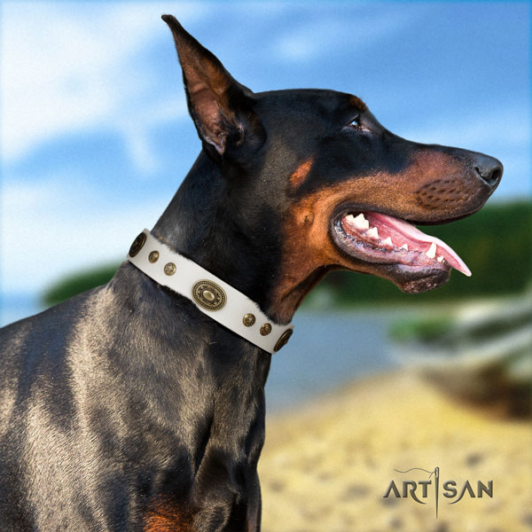Doberman easy adjustable natural genuine leather collar with adornments for your canine