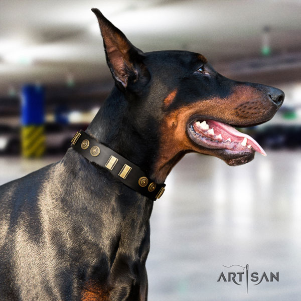 Doberman convenient natural genuine leather collar with decorations for your canine
